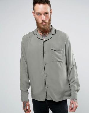 Brooklyn Supply Co. Рубашка с отложным воротником и окантовкой Co. Цвет: зеленый