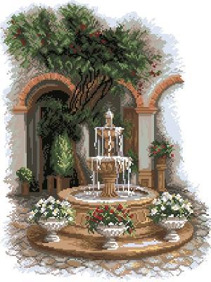 Рисунок на канве У прохладного фонтана Матренин Посад. Цвет: зеленый, коричневый