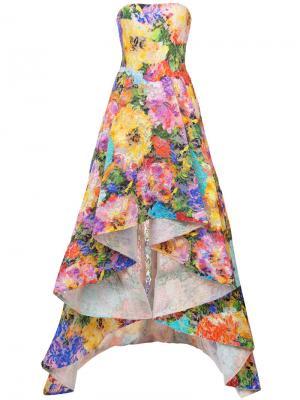 Длинное платье без бретелей с цветочным принтом Monique Lhuillier. Цвет: многоцветный