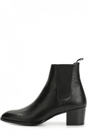 Кожаные челси на каблуке Saint Laurent. Цвет: черный