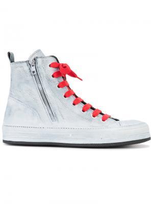 Side zip hi-top sneakers Ann Demeulemeester. Цвет: белый