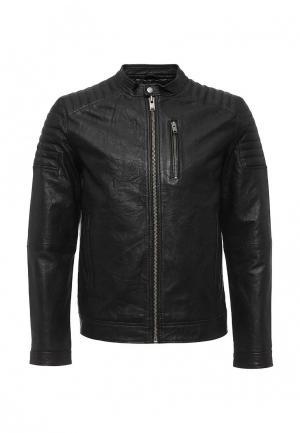Куртка кожаная Selected Homme. Цвет: черный