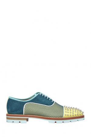 Комбинированные туфли Нubertus orl spikes flat Christian Louboutin. Цвет: желтый, синий
