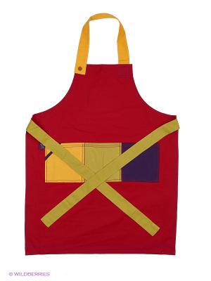 Фартук взрослый (серия Квадраты) - 3 кармана Dexam. Цвет: красный, желтый