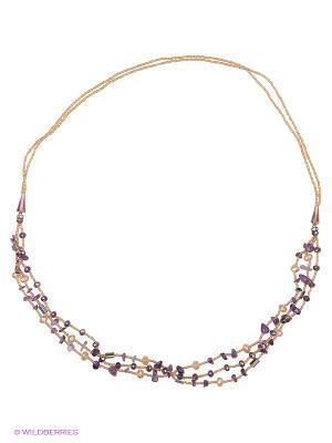 Колье Красота Природы. Цвет: фиолетовый, прозрачный, золотистый, сиреневый