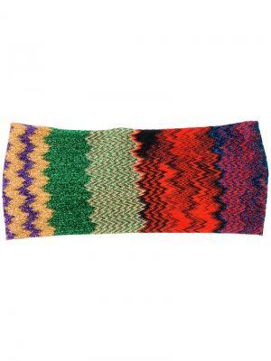 Трикотажный ободок для волос с зигзагообразным узором Missoni. Цвет: многоцветный
