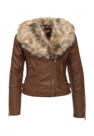 Куртка кожаная B.Style. Цвет: коричневый