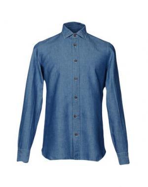 Джинсовая рубашка LUIGI BORRELLI NAPOLI. Цвет: синий
