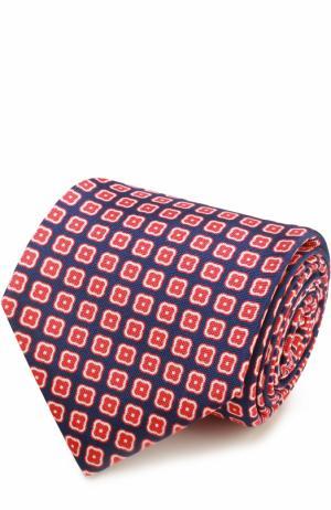 Шелковый галстук с узором Kiton. Цвет: синий