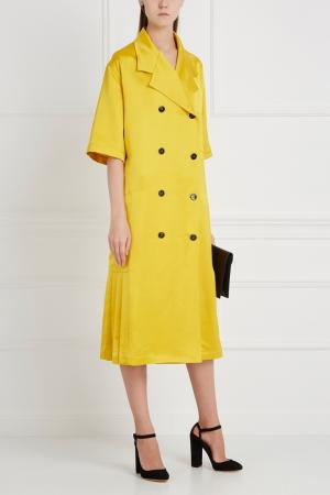 Двубортное пальто с короткими рукавами Victoria Beckham. Цвет: желтый