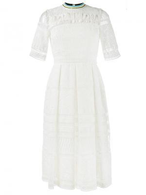 Кружевное платье миди House Of Holland. Цвет: белый