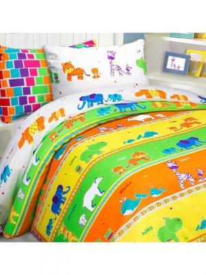 Комплект постельного белья Mona Liza Kids Зоопарк. Цвет: светло-зеленый, белый, желтый