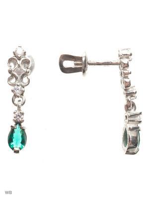 Серьги-гвоздики (пуссеты) ACCENT jewelry. Цвет: зеленый