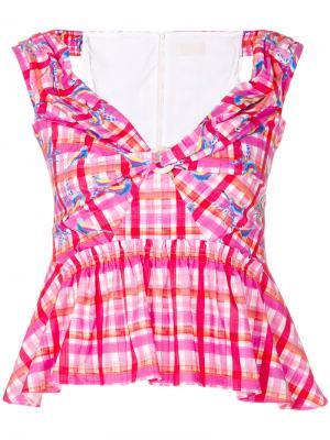 Клетчатая блузка с баской Peter Pilotto. Цвет: розовый и фиолетовый