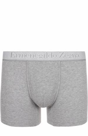 Комплект из двух хлопковых боксеров с широкой резинкой Ermenegildo Zegna. Цвет: серый