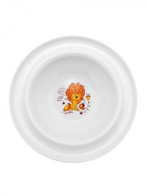 Тарелка Веселые животные от 6 мес. с присоской LUBBY. Цвет: белый, оранжевый