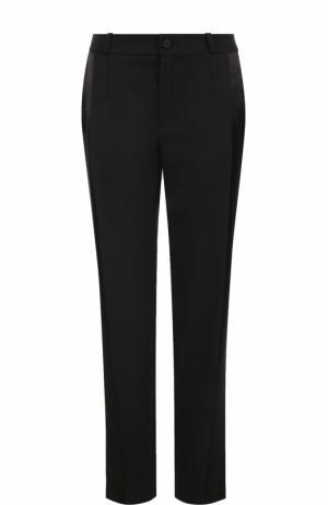 Шерстяные брюки прямого кроя с лампасами Lanvin. Цвет: черный