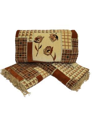 Комплект на мягкую мебель: покрывало 160Х210, накидка кресло 160Х90 - 2шт Dorothy's Home. Цвет: темно-коричневый, светло-коричневый