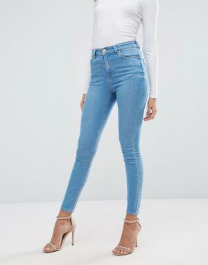 ASOS Ярко-голубые джинсы скинни RIDLEY. Цвет: синий