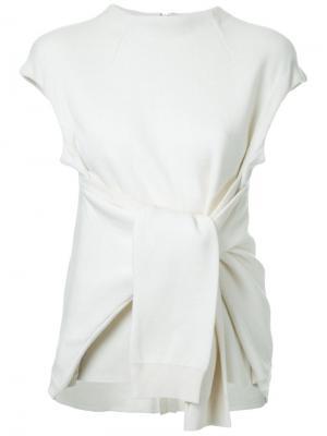 Блузка с узелком спереди Fad Three. Цвет: белый