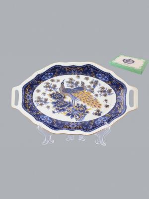 Блюдо для нарезки Павлин синий Elan Gallery. Цвет: синий, белый