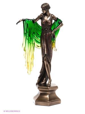 Статуэтка Леди с палантином Veronese. Цвет: бронзовый, желтый, зеленый