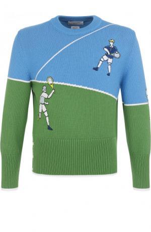 Хлопковый джемпер с вышивкой Thom Browne. Цвет: разноцветный