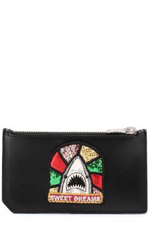 Кожаный футляр для кредитных карт с отделением монет Saint Laurent. Цвет: черный