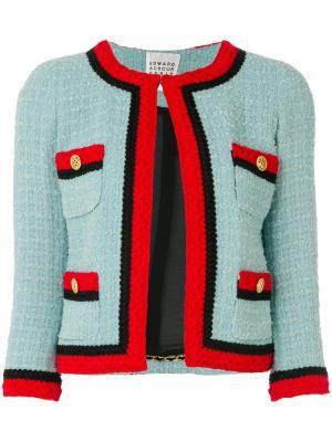 Твидовый пиджак с контрастной отделкой Edward Achour Paris. Цвет: синий