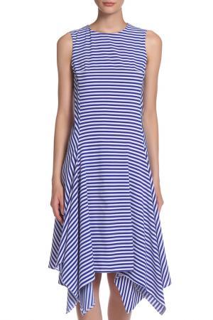 Платье миди полуприталенного силуэта IQDRESS. Цвет: сине-белая полоска