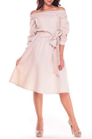 Женственное платье с открытыми плечами Laura Bettini. Цвет: бежевый