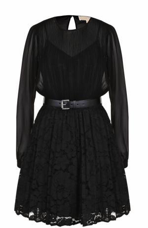 Приталенное мини-платье с круглым вырезом и поясом MICHAEL Kors. Цвет: черный