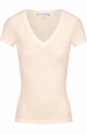 Приталенная футболка с V-образным вырезом James Perse. Цвет: бежевый