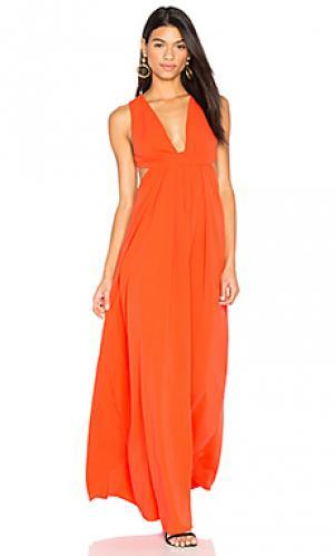 Вечернее платье с перекрестными шлейками на спине JILL STUART. Цвет: оранжевый