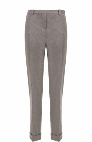 Облегающие кашемировые брюки с отворотами Loro Piana. Цвет: серый