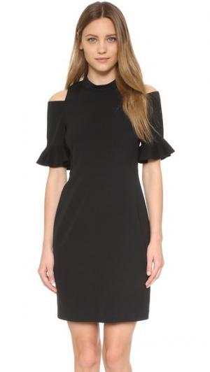 Платье с открытыми плечами и короткими рукавами Rebecca Taylor. Цвет: голубой