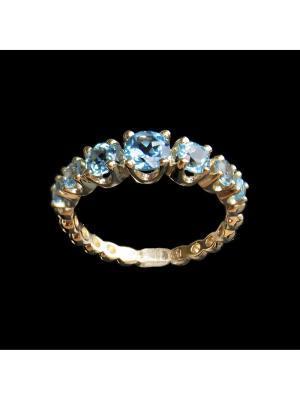 Кольцо Диковинка. Цвет: голубой, золотистый