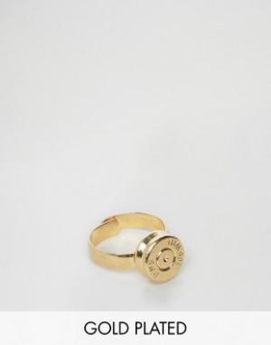 Love Bullets Золотистое кольцо с отделкой в виде пули Lovebullets. Цвет: золотой