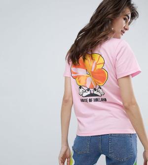 House of Holland Эксклюзивная футболка с надписью. Цвет: розовый