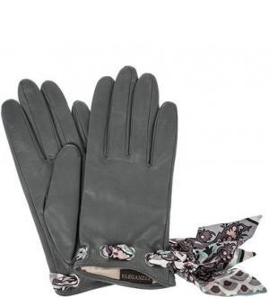 Кожаные перчатки с лентами ELEGANZZA. Цвет: серый