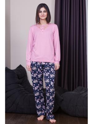 Пижама женская Oztas underwear. Цвет: черный, розовый