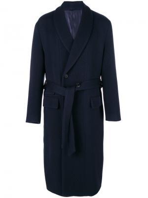 Пальто на пуговицах с завязками Wooyoungmi. Цвет: синий