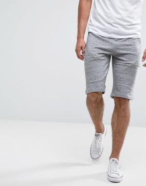 New Look Серые меланжевые трикотажные шорты. Цвет: серый