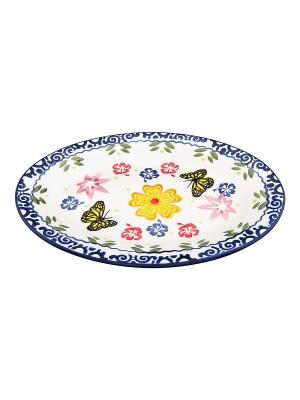 Блюдо Бабочки Elan Gallery. Цвет: синий, желтый, белый