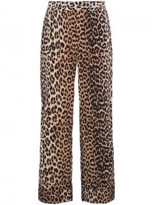 Шерстяные брюки с леопардовым принтом Ganni. Цвет: коричневый