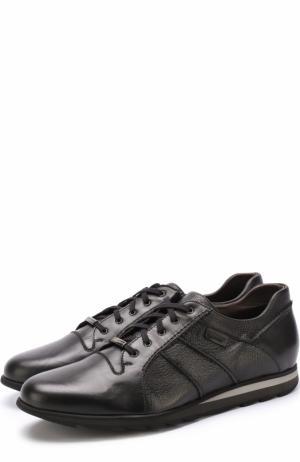 Кожаные кроссовки на шнуровке Barrett. Цвет: черный