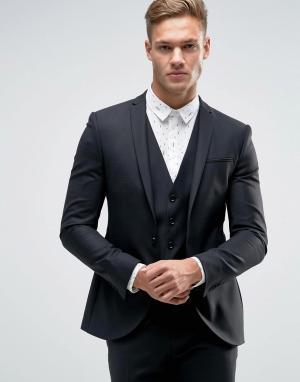 Noak Супероблегающий пиджак с разрезами на лацканах. Цвет: черный