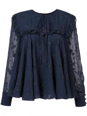 Жаккардовая блуза  с оборками Co. Цвет: синий