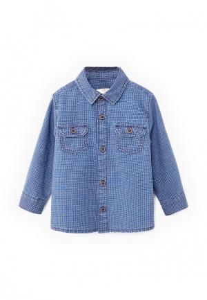 Рубашка джинсовая Mango Kids. Цвет: синий