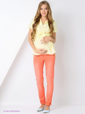 Блузка для беременных 40 недель. Цвет: желтый